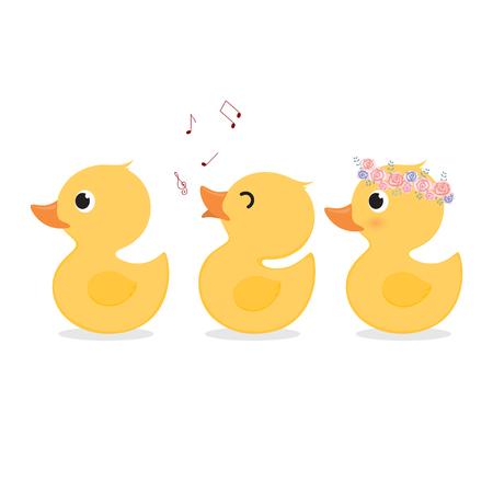 Cute yellow duck collection set. Иллюстрация