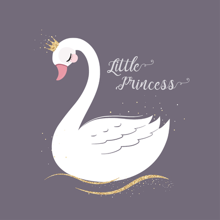 cute Little Princess Swan with gold glitter crown. Illustration