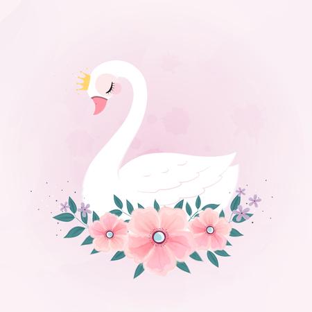 linda princesita cisne con ramo de flores.