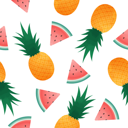 seamless pattern with watermelon slices and pineapple. Summer fresh fruit background.