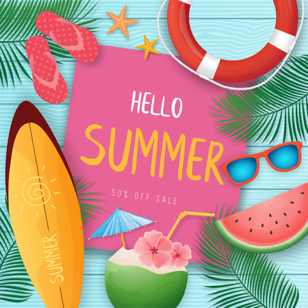 Summer vacation template on blue wooden background with beach summer accessories. Illustration