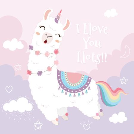 Simpatico lama unicorno e arcobaleno che galleggiano nel cielo.