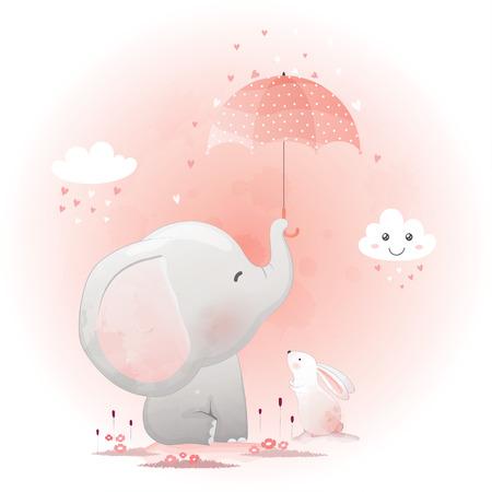 Simpatico elefante e coniglietto con illustrazione vettoriale disegnato a mano del fumetto dell'ombrello.