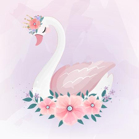 Adorable petite princesse cygne avec bouquet de fleurs.