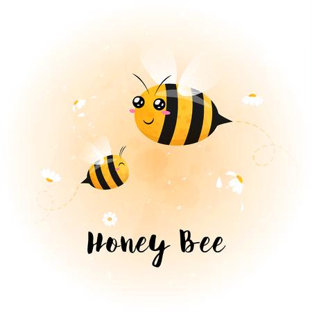 cute bright baby bee watercolor