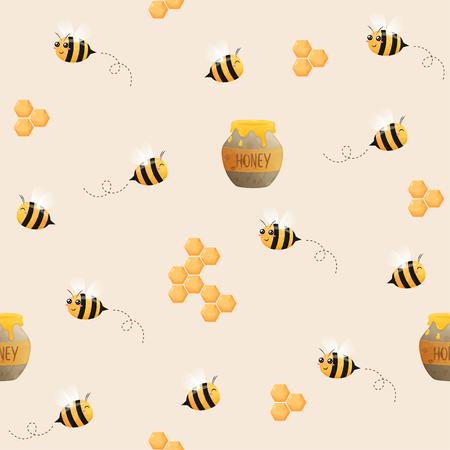 wzór pszczół. Obraz latających pszczół. Pszczoły i plaster miodu.