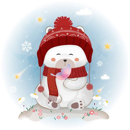 Cute polar bear in the winter.