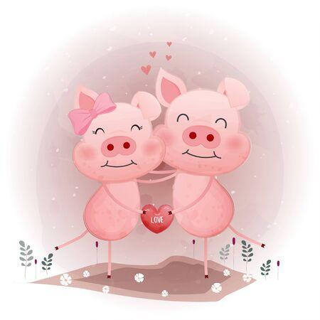 Cute pink pig character holding heart. Foto de archivo - 134671260