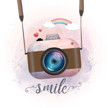 Cute retro photo camera, watercolor stay
