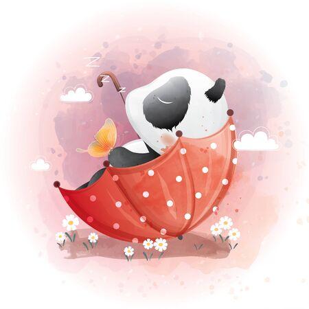 Cute Panda in the spring umbrella watercolor illustration Premium Vector