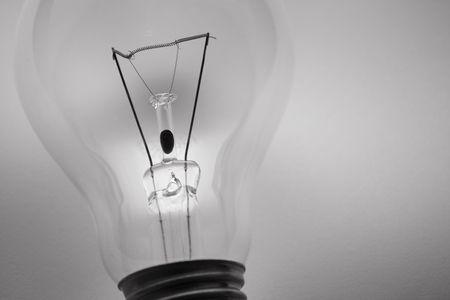 socle: Black and white of lightbulb on white background