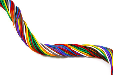 telephone cable: multi-color of telephone cable on white