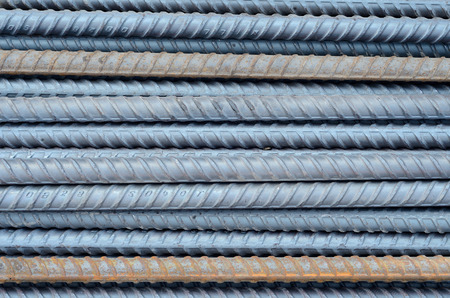 corode: Rusty rebar steel used in construction background texture Stock Photo