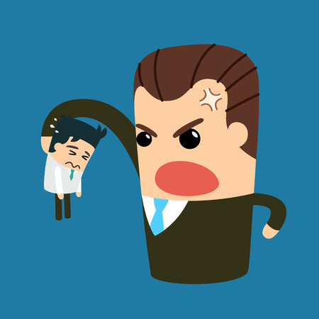bad leadership: Boss with employee. Vector and illustration.
