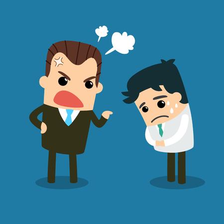 jefe enojado: Jefe enojado al empleado. Vector y la ilustración. Vectores