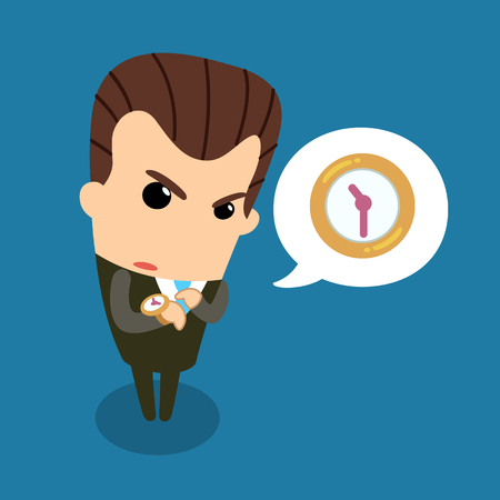 bad leadership: Bossy counting time. Vector and illustration.