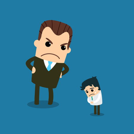bossy: Boss with employee. Vector and illustration.