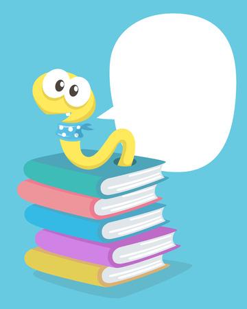 gusano caricatura: Un Gusano en los libros. Vector, Ilustración.