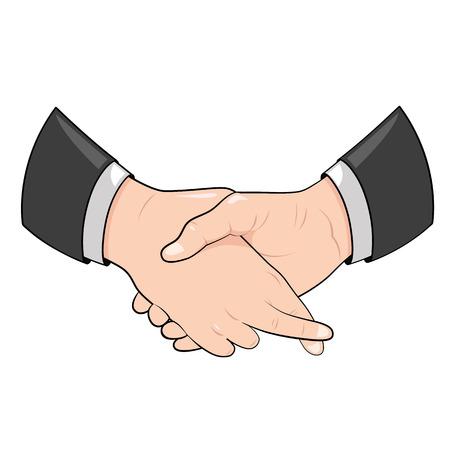 Hand schudden met gekruiste vingers. Stock Illustratie