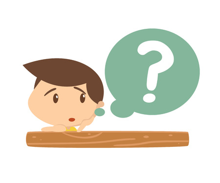 asking: Kid in action. Have question.Vector. Illustration.