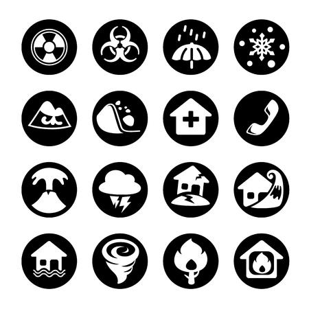 Icon disaster in black. Vector and illustration. Ilustração