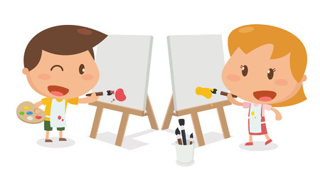 kids painting: Kids activity. Kids painting. Flat character design and illustration. Illustration