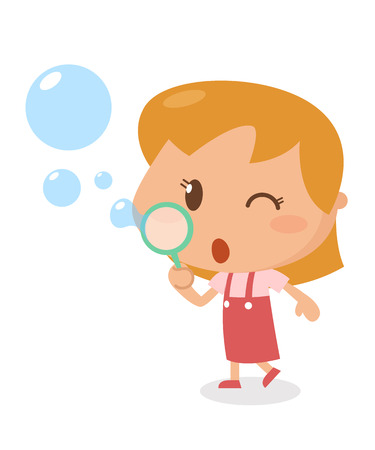 contemplate: Kids activity. blowing bubbles. It is illustration and flat design. Illustration