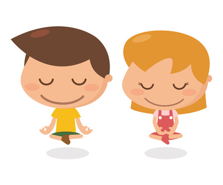 contemplate: Kids activity. Meditation. It is illustration and flat design.