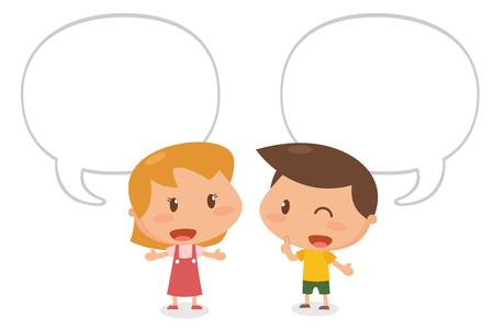 Kids talking. Flat character design. It is illustration.