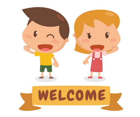 sign  childhood: Kids in action. Welcome. Flat character design. It is illustration.