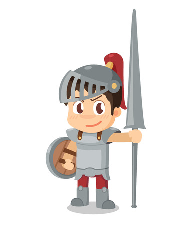 knightly: Knight stand alone. Cartoon character. Illustration