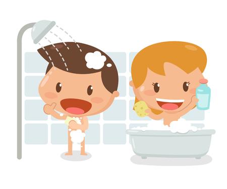 Kids taking a bath. It is illustration. Vettoriali