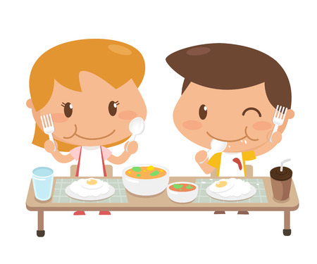Kids are eating together. It is illustration.
