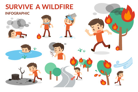 wildfire: Survive a Wildfire. Forest fire. Danger of wildfire.