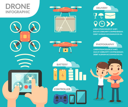 controlling: Drone info-graphic. A man controlling a drone.
