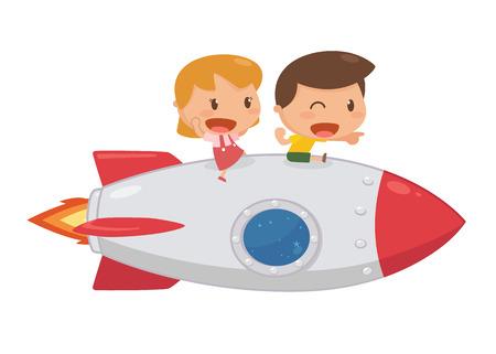 playmates: Niños montando en un cohete. Divertido. Vectores