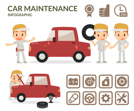 Car maintenance infographic. Set of garage icons. Protect the car.