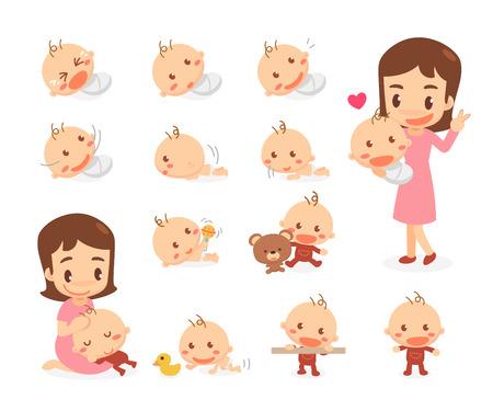 Mamá y bebé Etapas de desarrollo del bebé. Hitos. Ilustración de vector