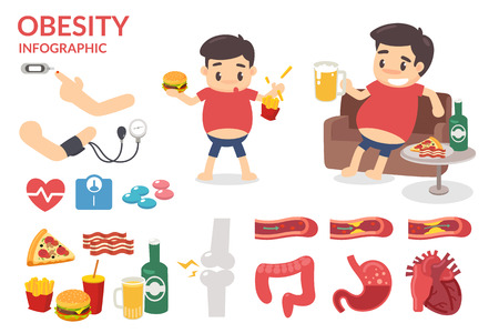 sleeping pills: Obesity. Healthy infographic. Fat man. Obesity man. Illustration