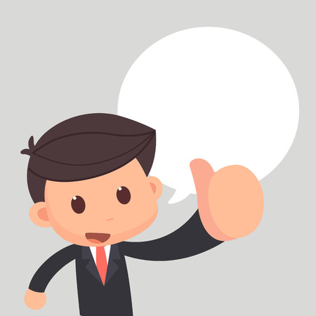 Business man show thumb up with balloon text. Great job. Illustration
