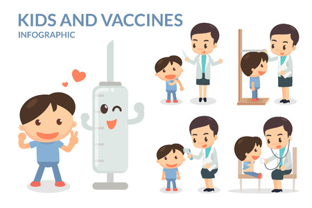 Kids and Vaccines. Vaccination. Children. Vettoriali