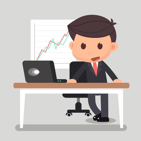 ビジネスの男性は、机に立っています。  イラスト・ベクター素材