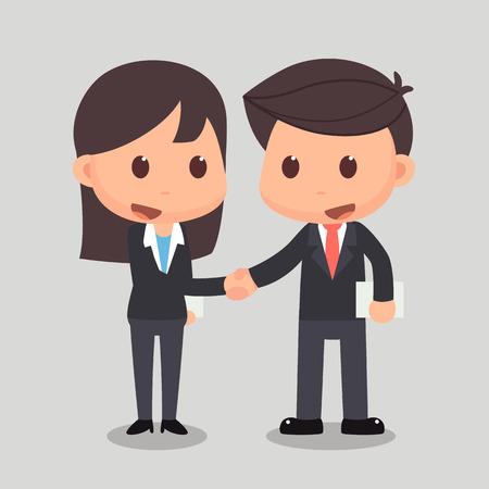 ビジネスの男性は、ビジネスの女性と握手しています。ビジネスの男性と女性は、アグリーメントの握手を交わしています。