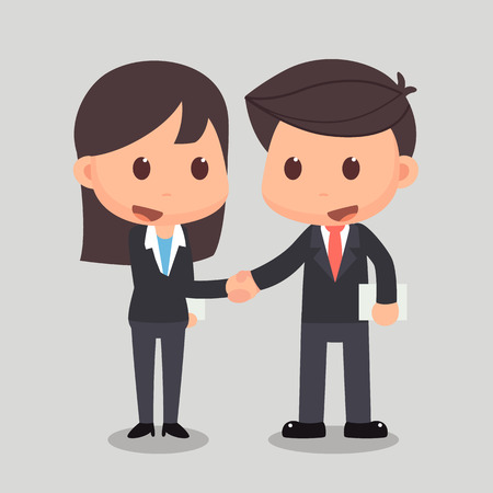 Business man is shaking hands with a business woman. Business man and business woman are shaking hands for an agreement. Zdjęcie Seryjne - 75102194