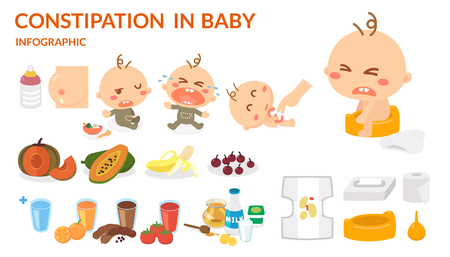 Constipation in baby. Illustration