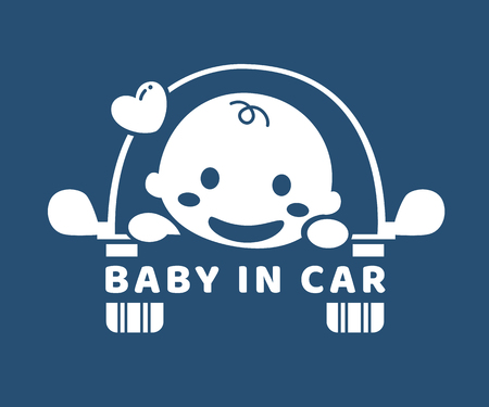 Baby in car. Sticker. Flat design.