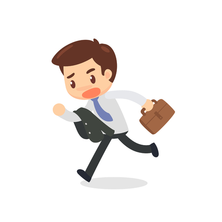 A hurried, running business man. Too late. Illustration