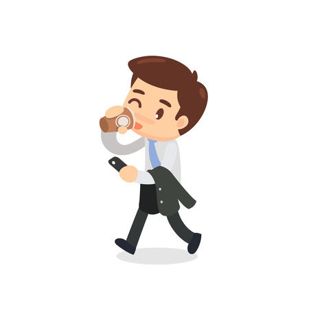 A business man is walking and drinking a cup of coffee. Slow life.