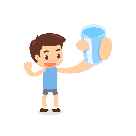 health and fitness: A man shows a glass of water. Healthy man. Illustration