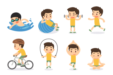 Set of Activities. Sport and Fitness. Flat design. Ilustrace